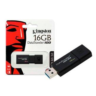 Pen Drive 16GB Kingston DataTraveler 100 G3 - USB 3.0 - Preto - DT100G3/16GB [i]